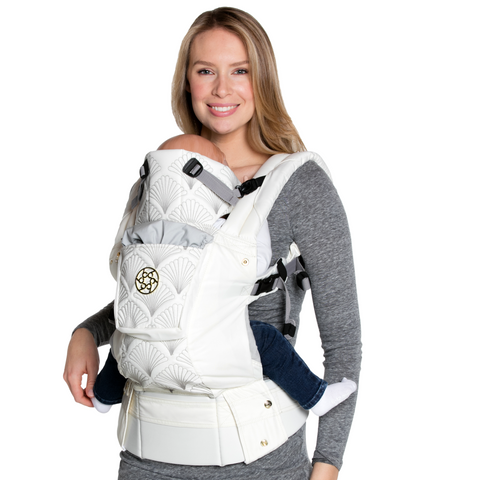 Lillebaby Complete Embossed Luxe Baby Carrier - Brilliance (White with Gold)