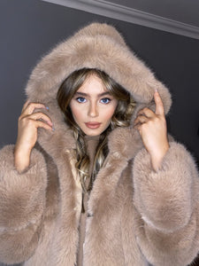 Premium Faux Fur Hooded Coat.