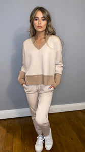 Cream V Neck Lounge Set