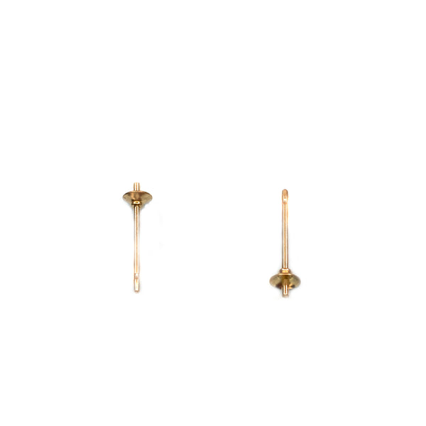14KY Goldfilled Ear Post, 3mm Cup With Peg , 0.76x9.5mm