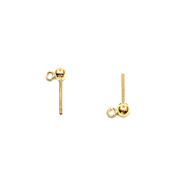 14KY Goldfilled Ball Post, 3mm Ball, 0.76x9mm Post, with Ring