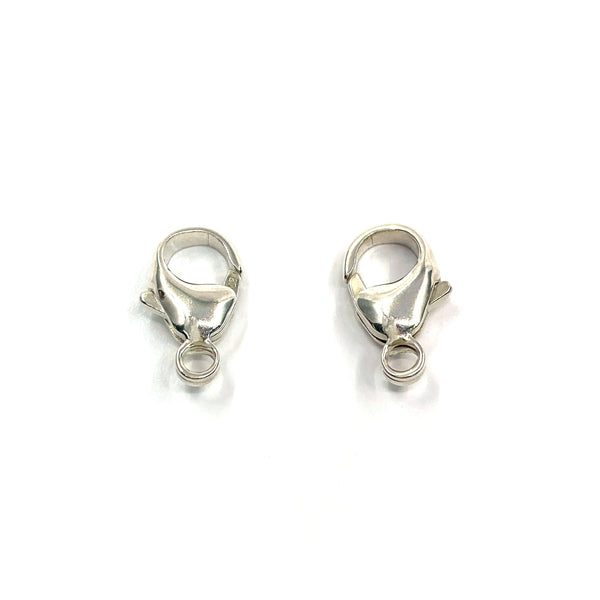 Silver Lobster Clasp, Pear, Standard, Fixed Closed Ring