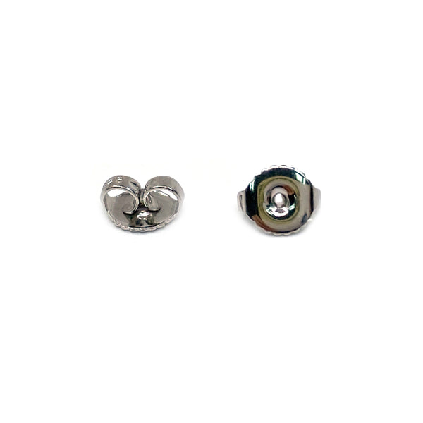 Silver Ear Nut, S401, Heavy Weight, Rhodium Plated