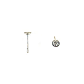 Silver Ear Post, Cup 4mm, 0.76x9.5mm