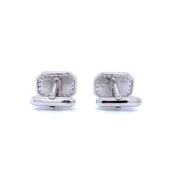 Silver Cufflink, Octangle, NAT+SYNT GMP-CZ, w/D&S Logo, 1 pair