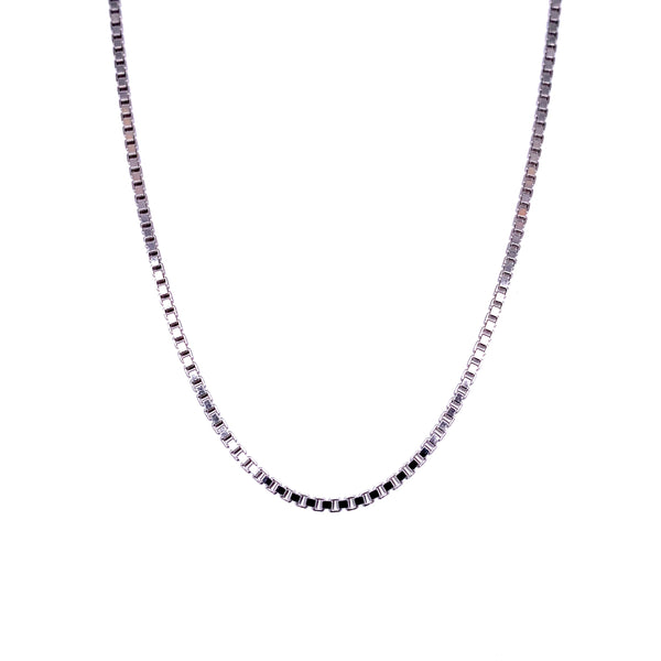 Silver Box Chain, Width 1.35mm, DC, Rhodium Plated