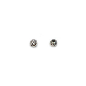 Silver Faceted Bead, Round 3mm, 1.2mm Hole, DC, RH Plated