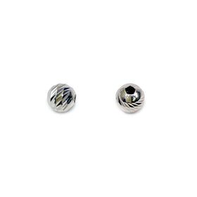 Silver Bead, Bar Cut, Round 3mm, Hole 1.2mm, RH Plated