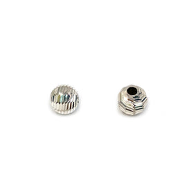 Silver Bead, Closer Bar Cut, Round 6mm, 1.8mm Hole