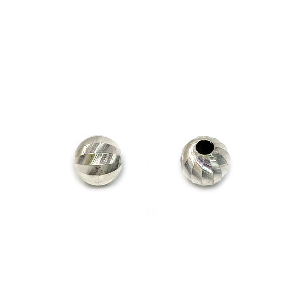 Silver Bead, Slices Cut, Round 6mm, 1.8mm Hole