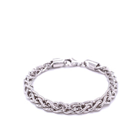 Silver Spiga Chain, 1.2mm, 5.2mm Width, Closed Jump Ring, Rhodium Plated