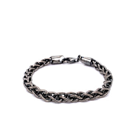 Silver Spiga Chain, 1.2mm, 5.2mm Width, Closed Jump Ring, Oxidation