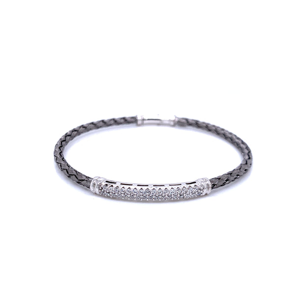 Silver Bangle w/Clasp, 3mm, w/Bar+Stone, Black+RH