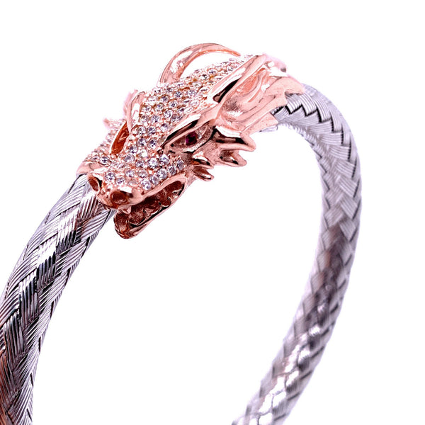Silver Bangle, Weave  6mm, Dragon CZ Cast, 18cm, RH+RoseGold
