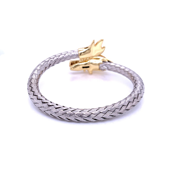 Silver Bangle, Weave  6mm, Dragon CZ Cast, 18cm, RH+Gold