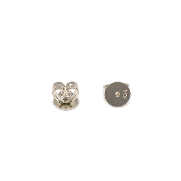 Silver China Heart Ear Nut, 5mm