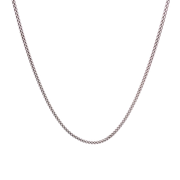 Silver Pop Corn Chain, 1.6mm, Rhodium Plated