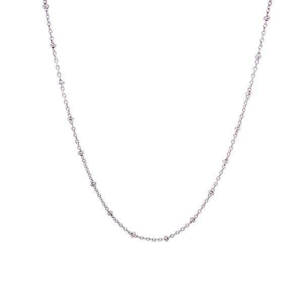 Silver Cable Chain with Bead, 0.3mm with 1.8mm Bead, 16