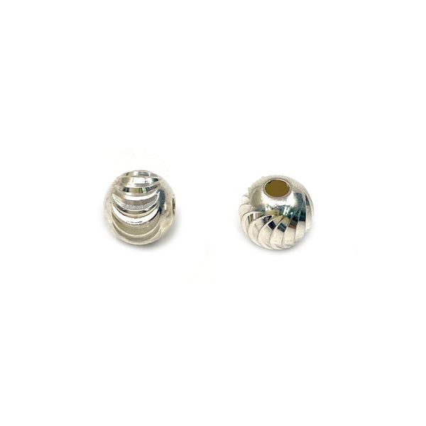 Silver Bead, Moon Cut, Round 6mm, Hole 1.8mm