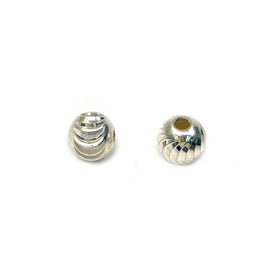 Silver Bead, Moon Cut, Round 4mm, Hole 1.5mm