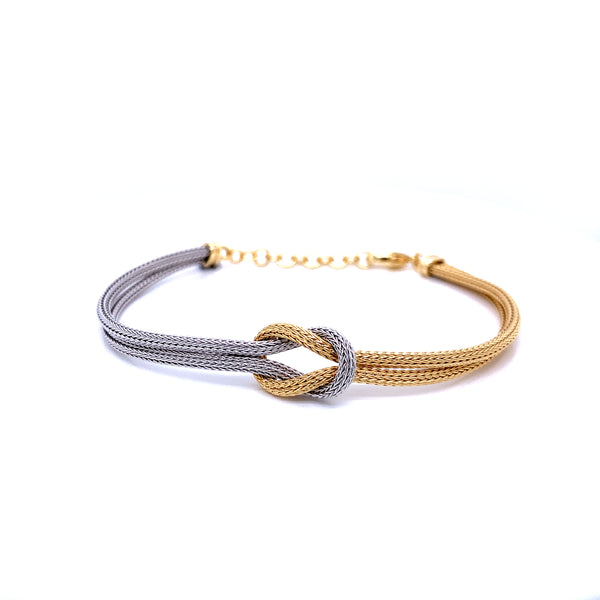 Silver Calza Chain, Bracelet, 16cm + 3cm Extension, Gold+Rhodium Plated