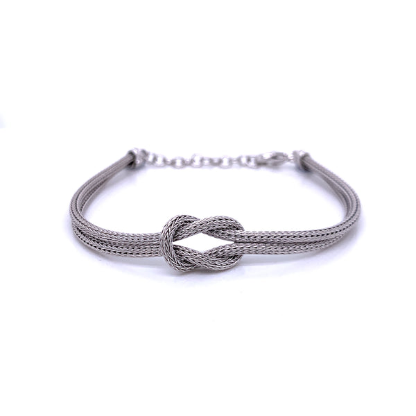 Silver Calza Chain, Bracelet, 16cm + 3cm Extension, Rhodium Plated