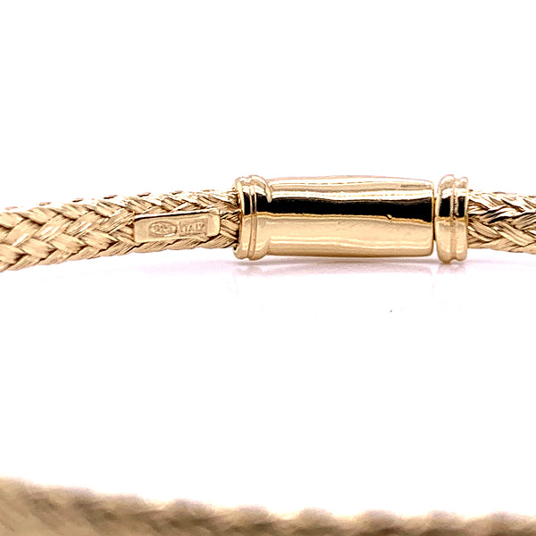 Silver Bangle, Weave 3.5mm,w/Push Lock, Gold Plated, Size M