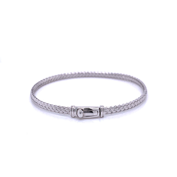 Silver Bangle, Weave 3.5mm,w/Push Lock, RH Plated, Size M