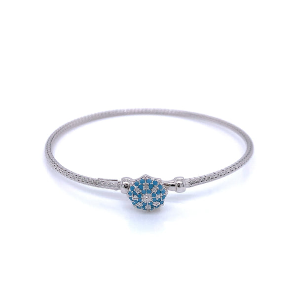 Silver Bangle, Calza 2mm, Blue Octagon CZ Cast Clasp, Rhodium, 18.5cm