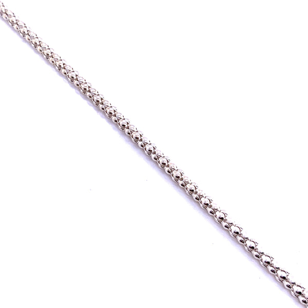 Silver Pop Corn Chain, 2.5mm, w/9mm Pear Loster Clasp