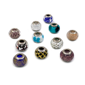 Murano Glass Bead with Silver Grommet, 14x11mm, RH, Mix Color