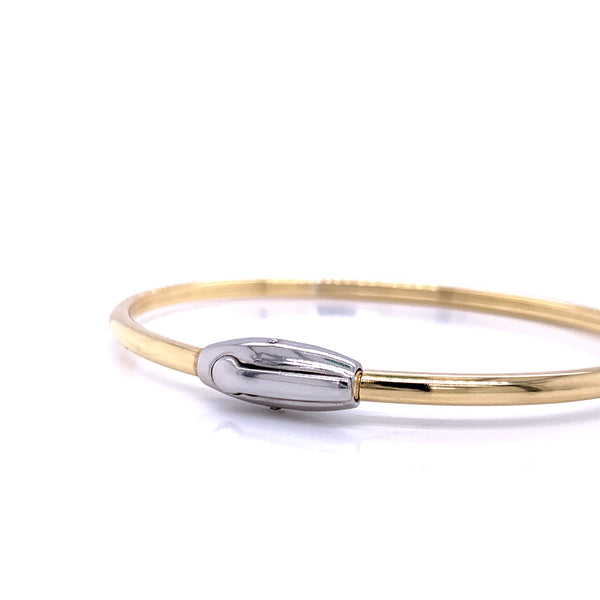 Silver Bangle, Plain with Click Lock, Gold + Rh Plated