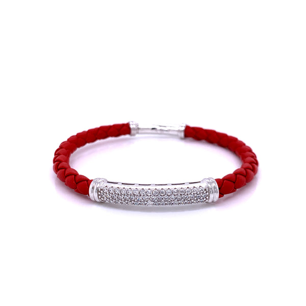 Leather Bangle 5mm, Red, Silver Casting with CZ, 18.5cm
