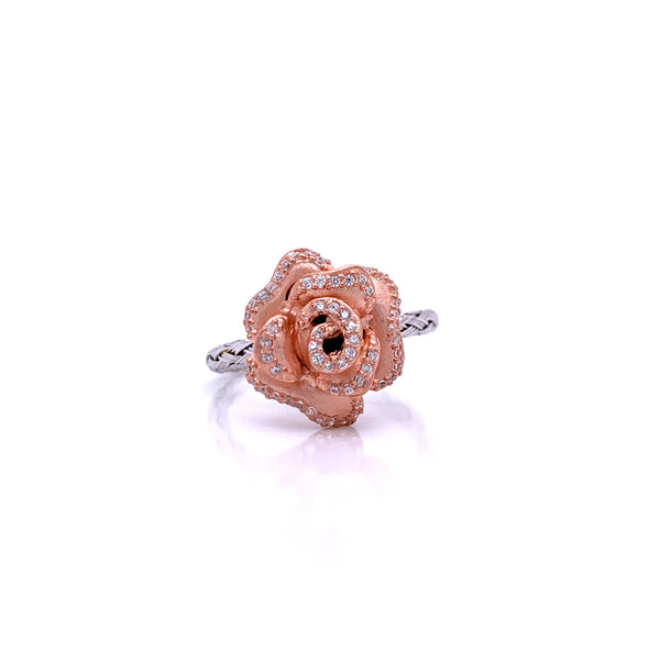 Silver Ring, Weave 2mm, Rose with CZ, RH+Rose Gold