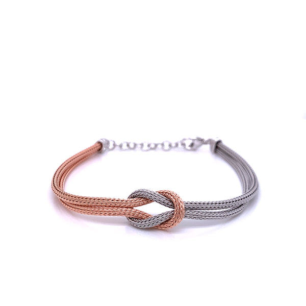 Silver Calza Chain, Bracelet, 16cm + 3cm Extension, Rhodium+Rose Gold Plated