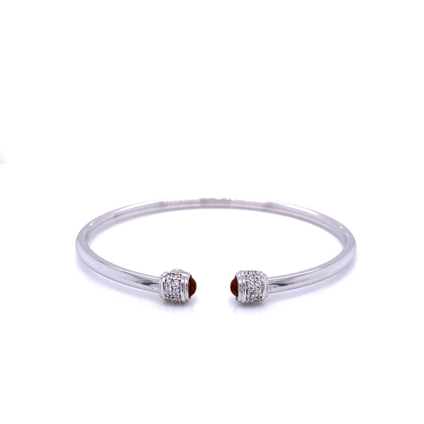 Silver Bangle,  Plain Tube With CZ And Gem, Rh Plated, 18cm, Citrine Stone
