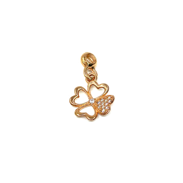 Silver Charm, Clover, Rose Gold Plated
