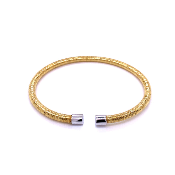 Silver Bangle, 4mm Flossed, Gold Plating