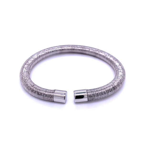Silver Bangle, 6mm Flossed, Rhodium Plating