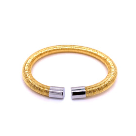 Silver Bangle, 6mm Flossed, Gold Plating