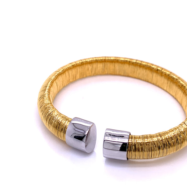 Silver Bangle, 10mm Flossed, Gold Plating, Anti Tarnish