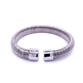 Silver Bangle, 10mm Flossed, Rhodium Plating