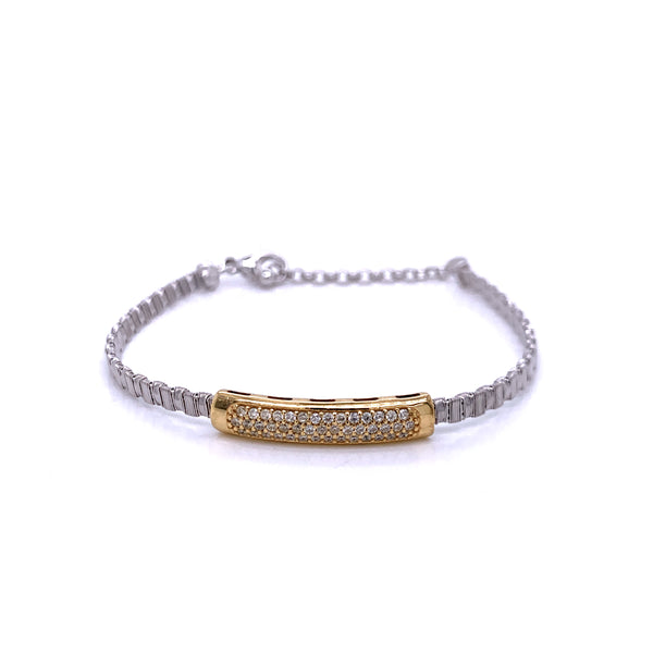Silver Bracelet, 3mm, w/Rectangle CZ Stone Casting, 16+3cm, RH+Gold