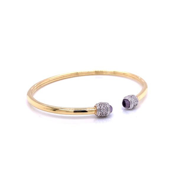 Silver Bangle, Plain Tube w/ CZ and Gem Stone(Amy426), Gold+Pt, 18cm