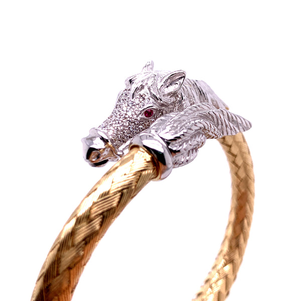 Silver Bangle, Weave with Horse, w/CZ Stone, Gold+Rh Plated, 18.5cm