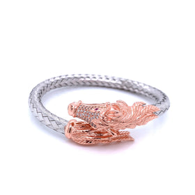 Silver Bangle, Weave with Horse, w/CZ Stone, Rose+Rhodium Plated, 18.5cm
