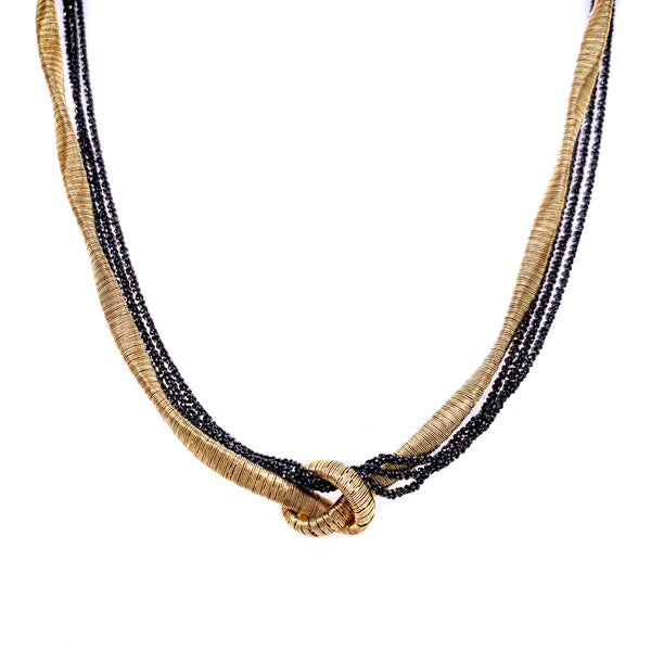 Silver Spiral Necklace, Twisted 2mm (Gold), Margherita 3 Rows (Ru), 40+5cm, AT