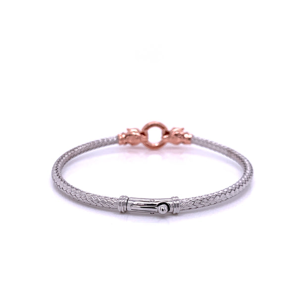 Silver Bangle, Weave w/Two Leopards, w/CZ, RH+Rose Plated