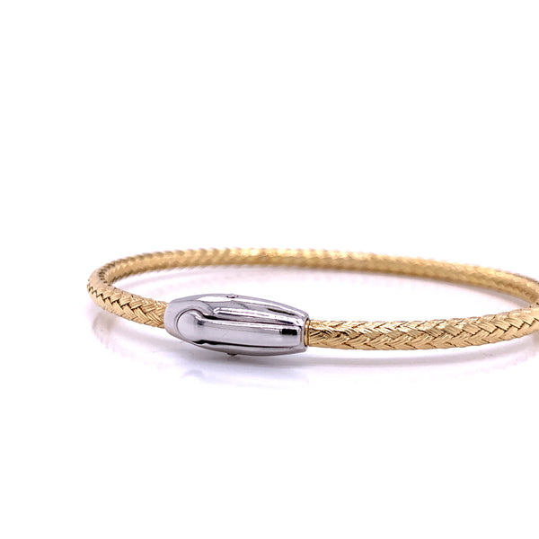 Silver Bangle, Weave, w/Click-lock, Gold Plated