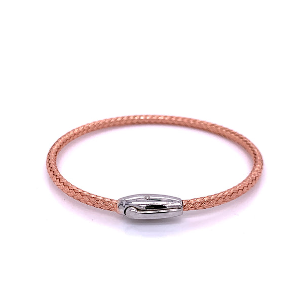 Silver Bangle, Weave, w/Click-lock, Rose Gold Plated